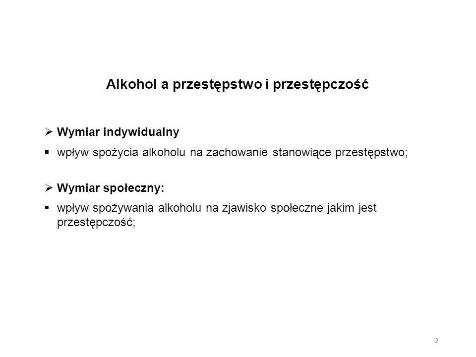 Alkohol a przestępstwo i przestępczość  Wymiar indywidualny  wpływ spożycia alkoholu na zachowanie stanowiące przestępstwo;  Wymiar społeczny:  wp