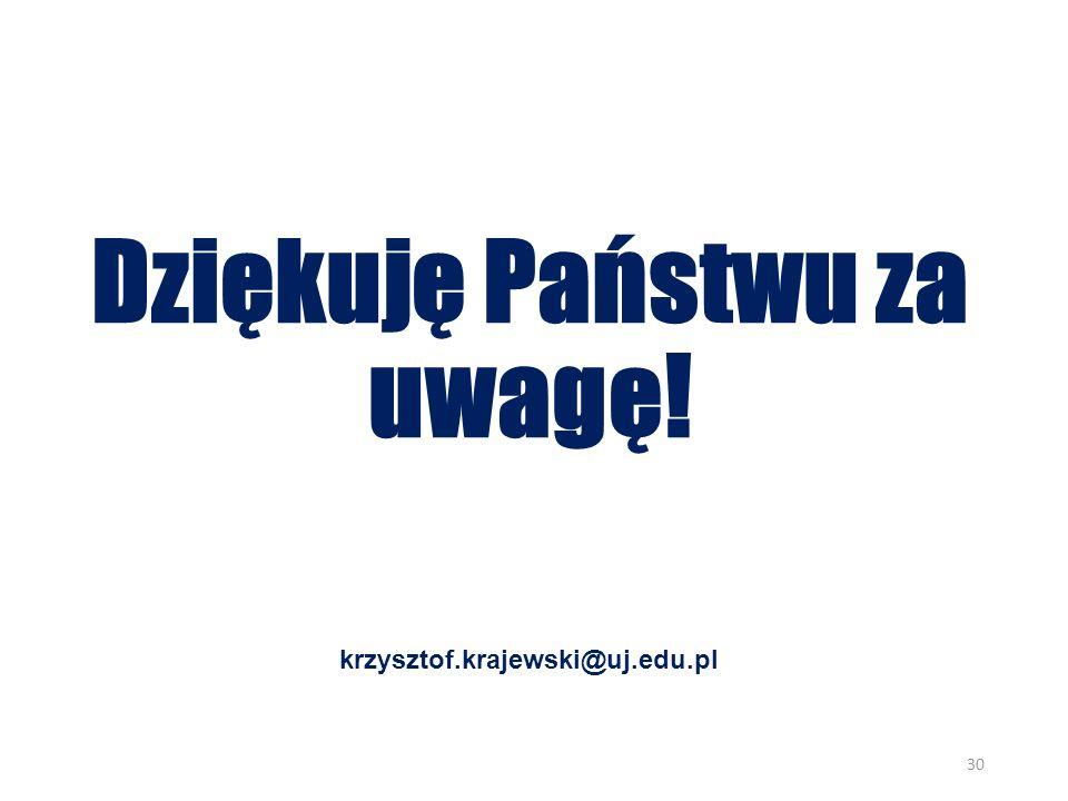 Dziękuję Państwu za uwagę! krzysztof.krajewski@uj.edu.pl 30