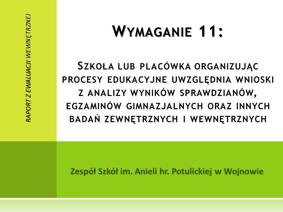 Zespół Szkół im. Anieli hr. Potulickiej w Wojnowie W YMAGANIE 11: W YMAGANIE 11: S ZKOŁA LUB PLACÓWKA ORGANIZUJĄC PROCESY EDUKACYJNE UWZGLĘDNIA WNIOSK