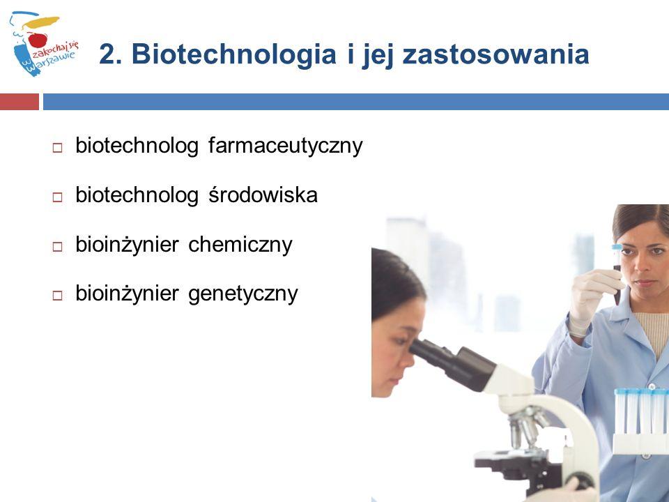  biotechnolog farmaceutyczny  biotechnolog środowiska  bioinżynier chemiczny  bioinżynier genetyczny 2.