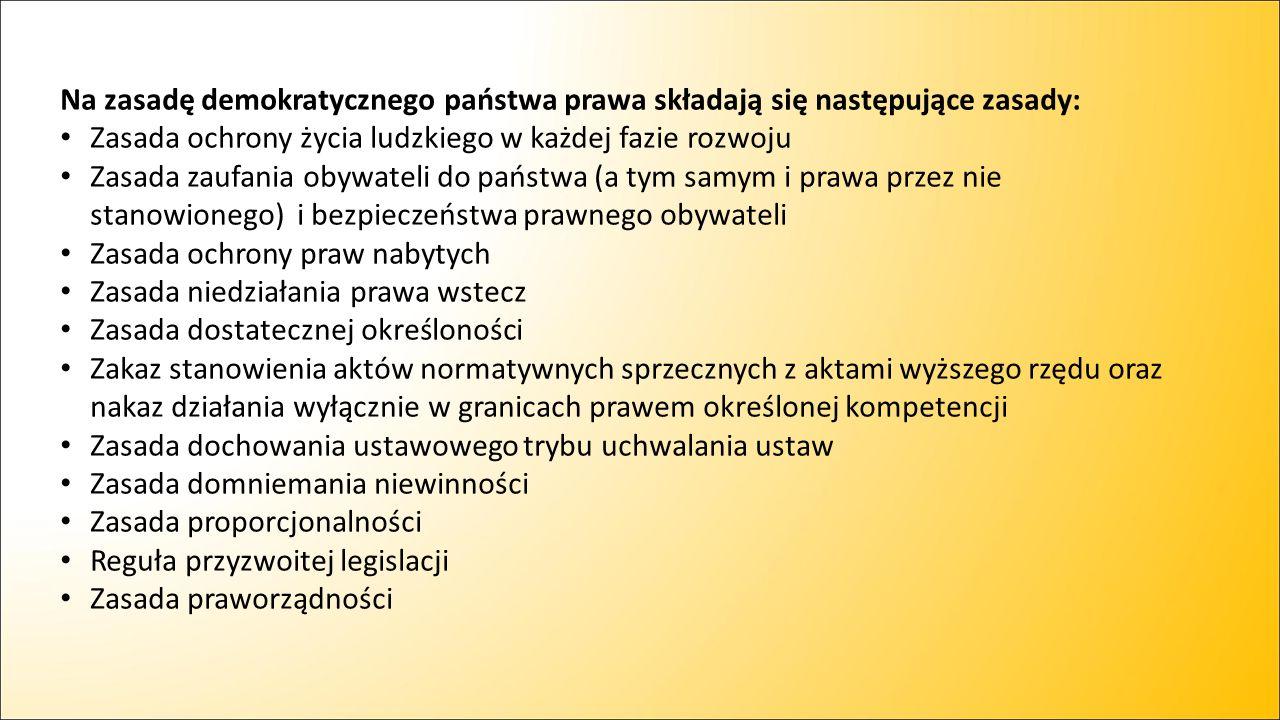 Na zasadę demokratycznego państwa prawa składają się następujące zasady: Zasada ochrony życia ludzkiego w każdej fazie rozwoju Zasada zaufania obywate