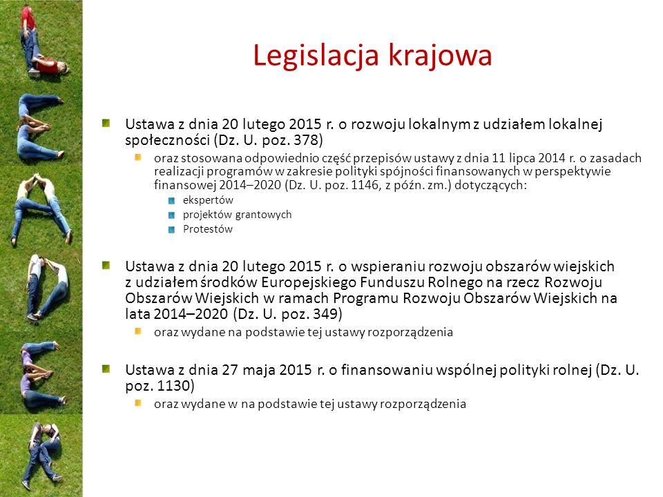 Legislacja krajowa Ustawa z dnia 20 lutego 2015 r.