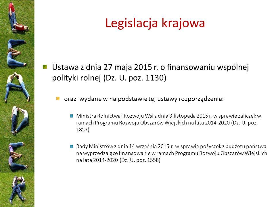 Legislacja krajowa Ustawa z dnia 27 maja 2015 r. o finansowaniu wspólnej polityki rolnej (Dz.
