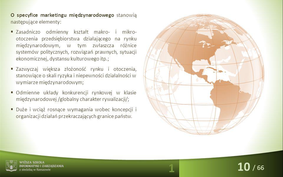 / 66 O specyfice marketingu międzynarodowego stanowią następujące elementy:  Zasadniczo odmienny kształt makro- i mikro- otoczenia przedsiębiorstwa d