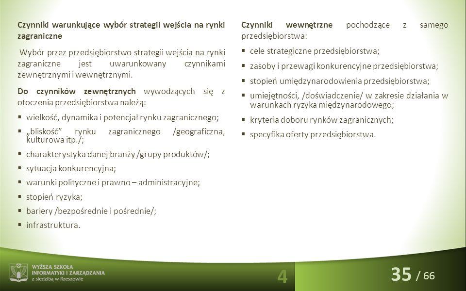 / 66 Czynniki warunkujące wybór strategii wejścia na rynki zagraniczne Wybór przez przedsiębiorstwo strategii wejścia na rynki zagraniczne jest uwarun