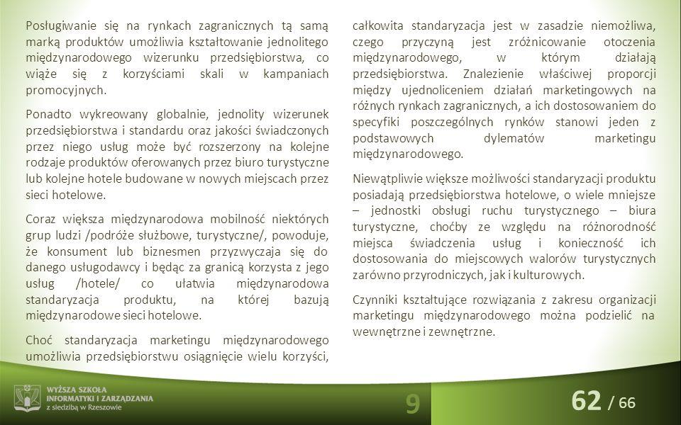/ 66 Posługiwanie się na rynkach zagranicznych tą samą marką produktów umożliwia kształtowanie jednolitego międzynarodowego wizerunku przedsiębiorstwa