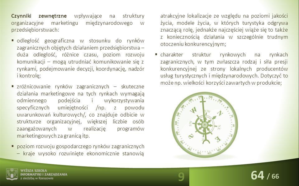 / 66 Czynniki zewnętrzne wpływające na struktury organizacyjne marketingu międzynarodowego w przedsiębiorstwach:  odległość geograficzna w stosunku d
