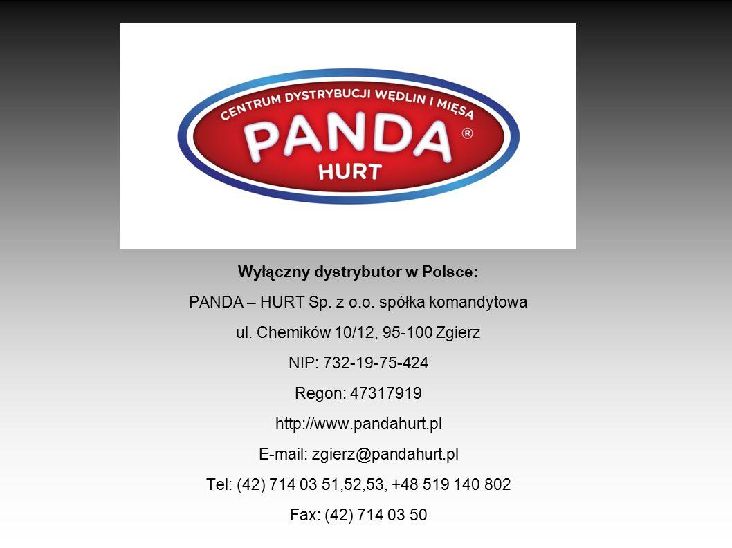 Wyłączny dystrybutor w Polsce: PANDA – HURT Sp. z o.o. spółka komandytowa ul. Chemików 10/12, 95-100 Zgierz NIP: 732-19-75-424 Regon: 47317919 http://