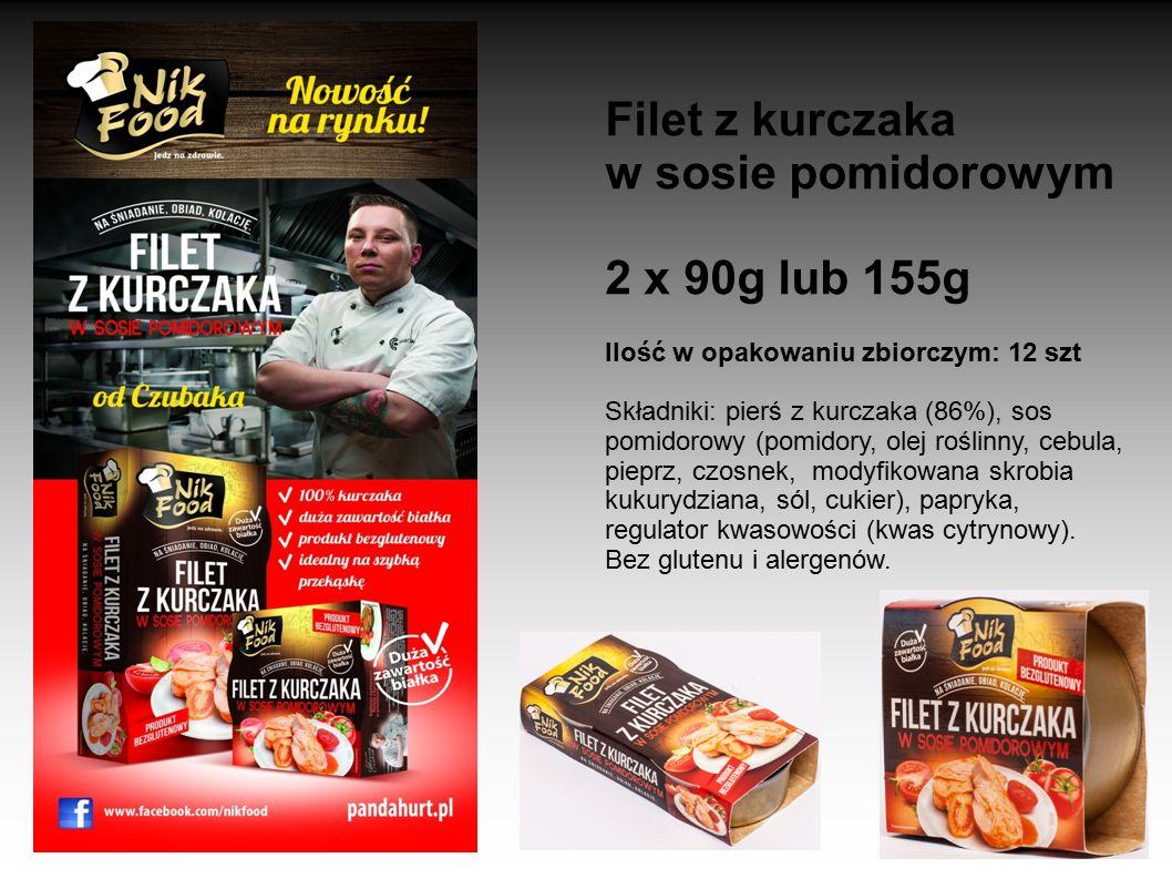Filet z kurczaka w sosie pomidorowym 2 x 90g lub 155g Ilość w opakowaniu zbiorczym: 12 szt Składniki: pierś z kurczaka (86%), sos pomidorowy (pomidory