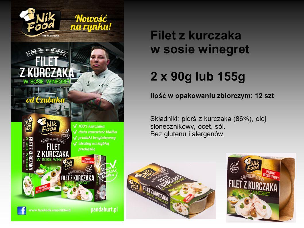 Filet z kurczaka w sosie winegret 2 x 90g lub 155g Ilość w opakowaniu zbiorczym: 12 szt Składniki: pierś z kurczaka (86%), olej słonecznikowy, ocet, s