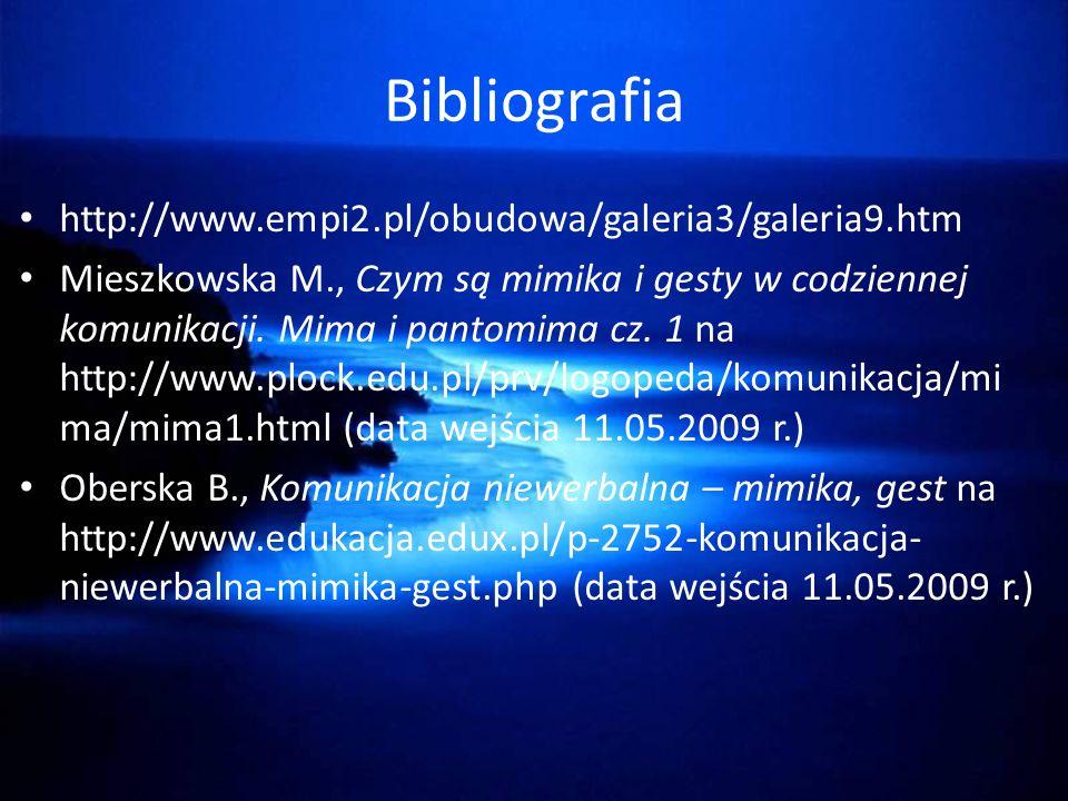 Bibliografia http://www.empi2.pl/obudowa/galeria3/galeria9.htm Mieszkowska M., Czym są mimika i gesty w codziennej komunikacji.