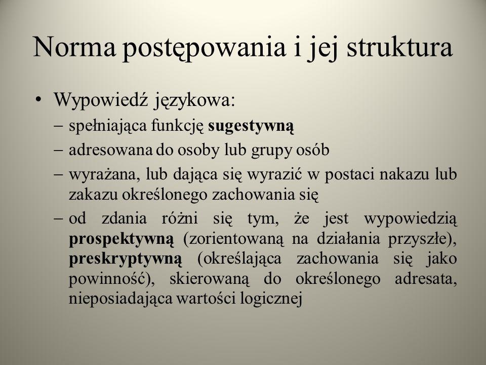Norma postępowania i jej struktura Wypowiedź językowa:  spełniająca funkcję sugestywną  adresowana do osoby lub grupy osób  wyrażana, lub dająca si