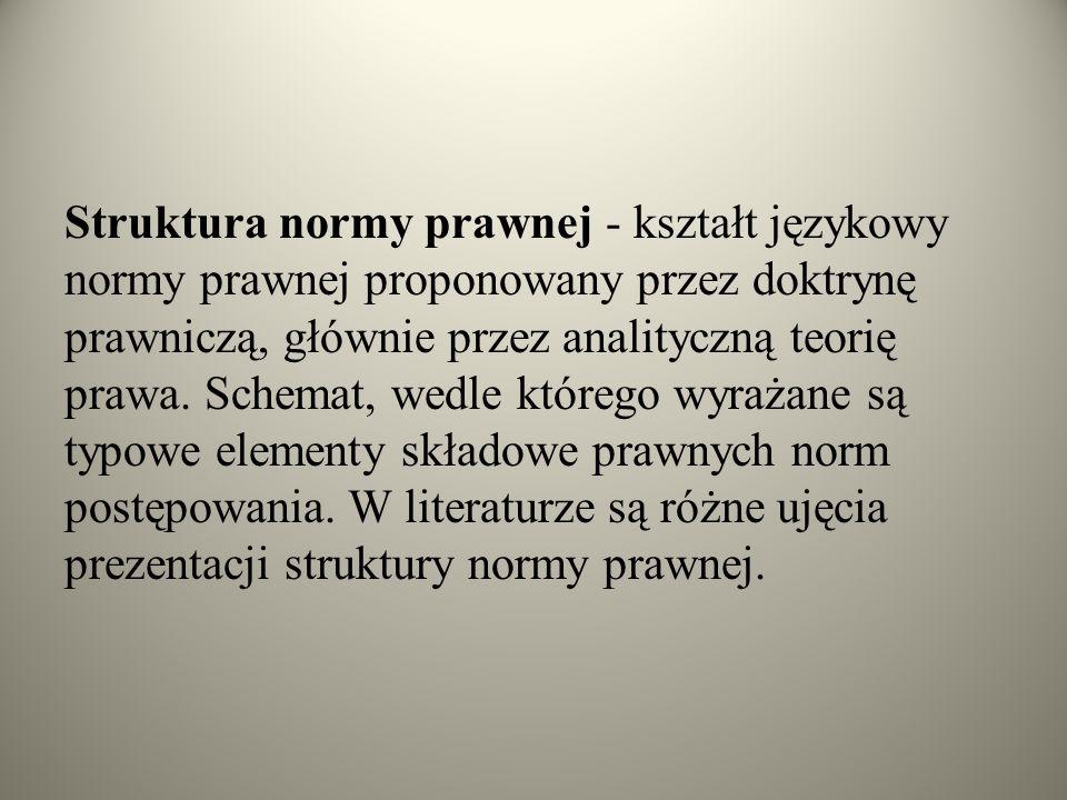Struktura normy prawnej - kształt językowy normy prawnej proponowany przez doktrynę prawniczą, głównie przez analityczną teorię prawa. Schemat, wedle