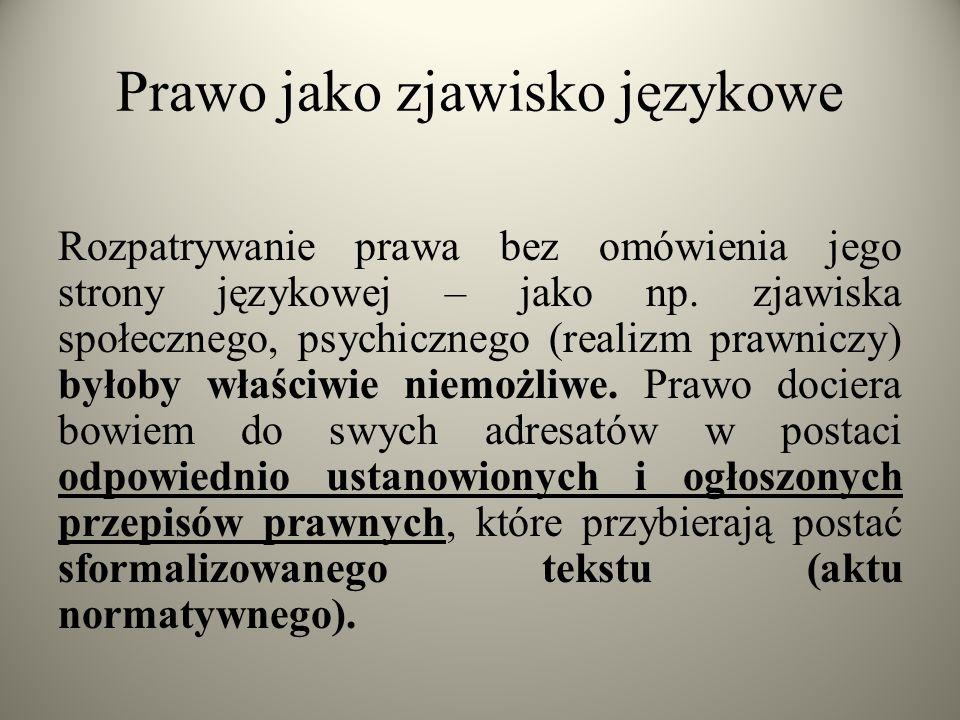 Prawo jako zjawisko językowe Rozpatrywanie prawa bez omówienia jego strony językowej – jako np. zjawiska społecznego, psychicznego (realizm prawniczy)