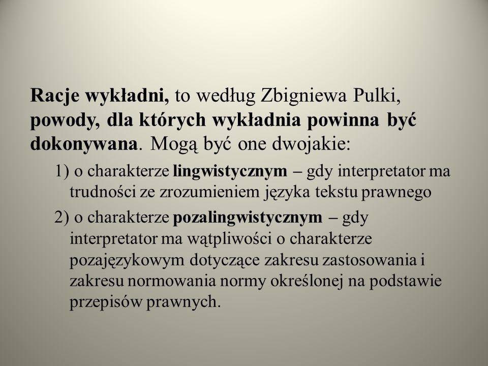 Racje wykładni, to według Zbigniewa Pulki, powody, dla których wykładnia powinna być dokonywana. Mogą być one dwojakie: 1) o charakterze lingwistyczny