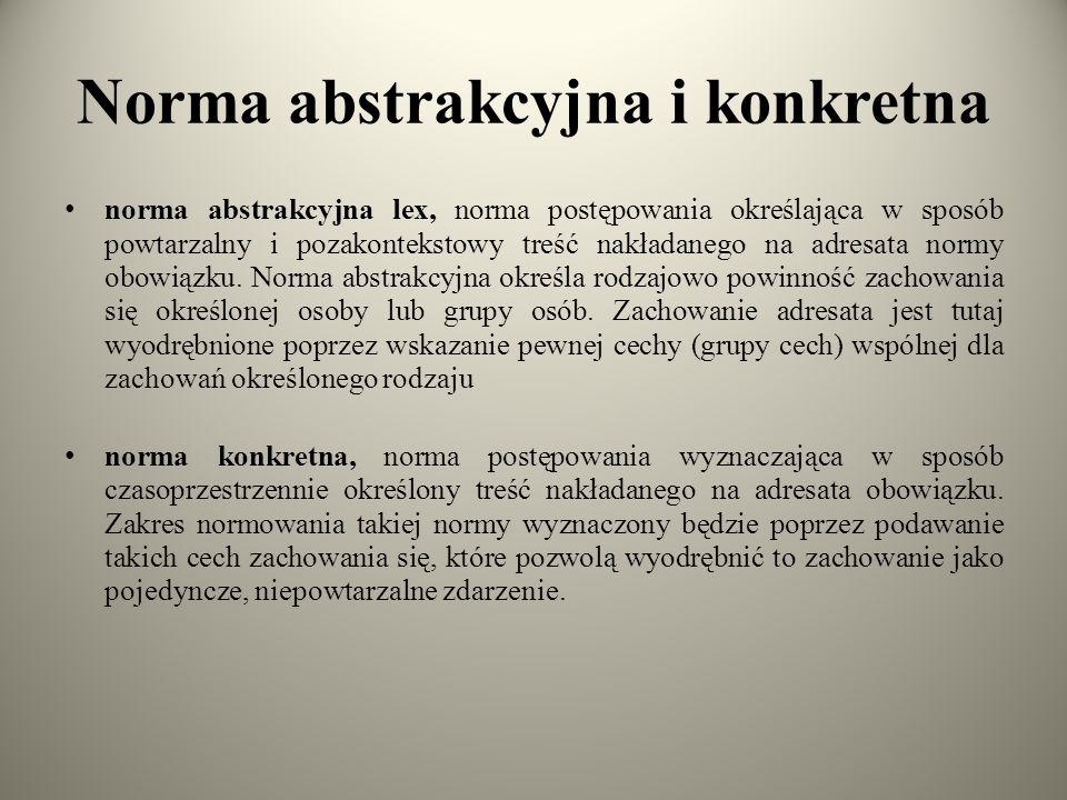 Norma abstrakcyjna i konkretna norma abstrakcyjna lex, norma postępowania określająca w sposób powtarzalny i pozakontekstowy treść nakładanego na adresata normy obowiązku.