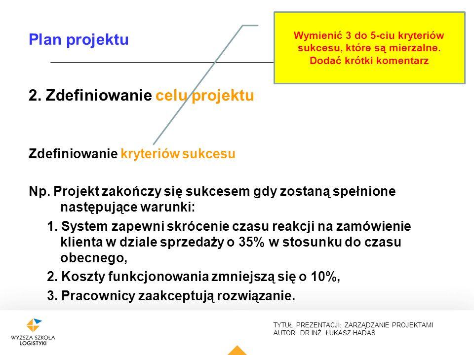 TYTUŁ PREZENTACJI: ZARZĄDZANIE PROJEKTAMI AUTOR: DR INŻ. ŁUKASZ HADAŚ Plan projektu 2. Zdefiniowanie celu projektu Zdefiniowanie kryteriów sukcesu Np.