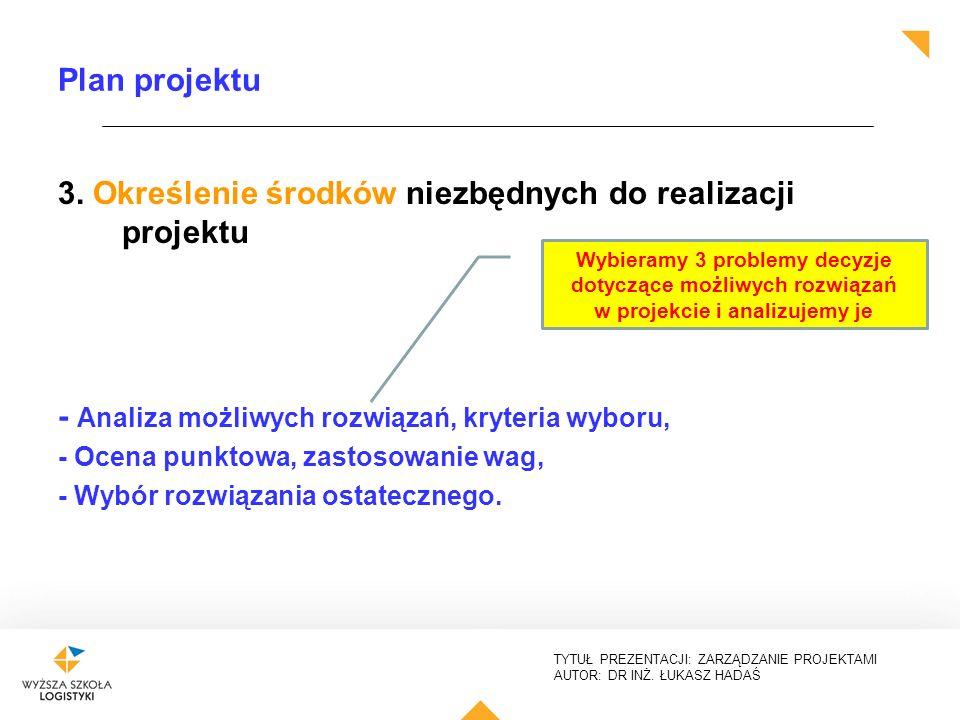 TYTUŁ PREZENTACJI: ZARZĄDZANIE PROJEKTAMI AUTOR: DR INŻ. ŁUKASZ HADAŚ Plan projektu 3. Określenie środków niezbędnych do realizacji projektu - Analiza