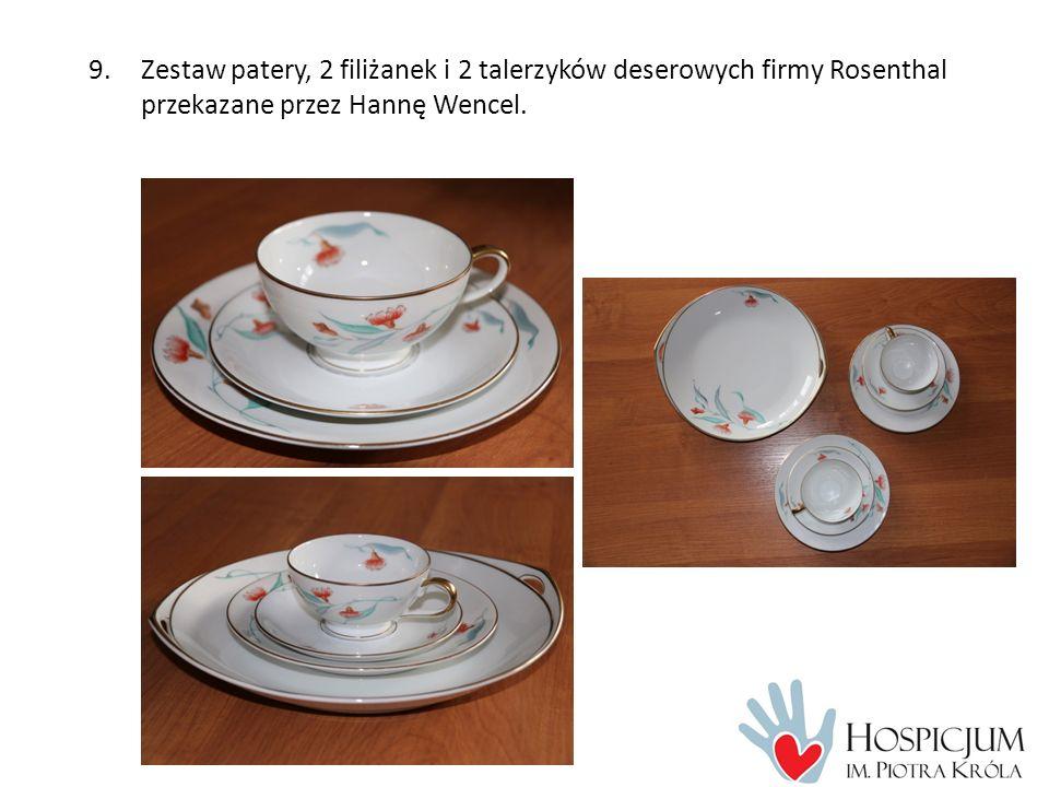9.Zestaw patery, 2 filiżanek i 2 talerzyków deserowych firmy Rosenthal przekazane przez Hannę Wencel.
