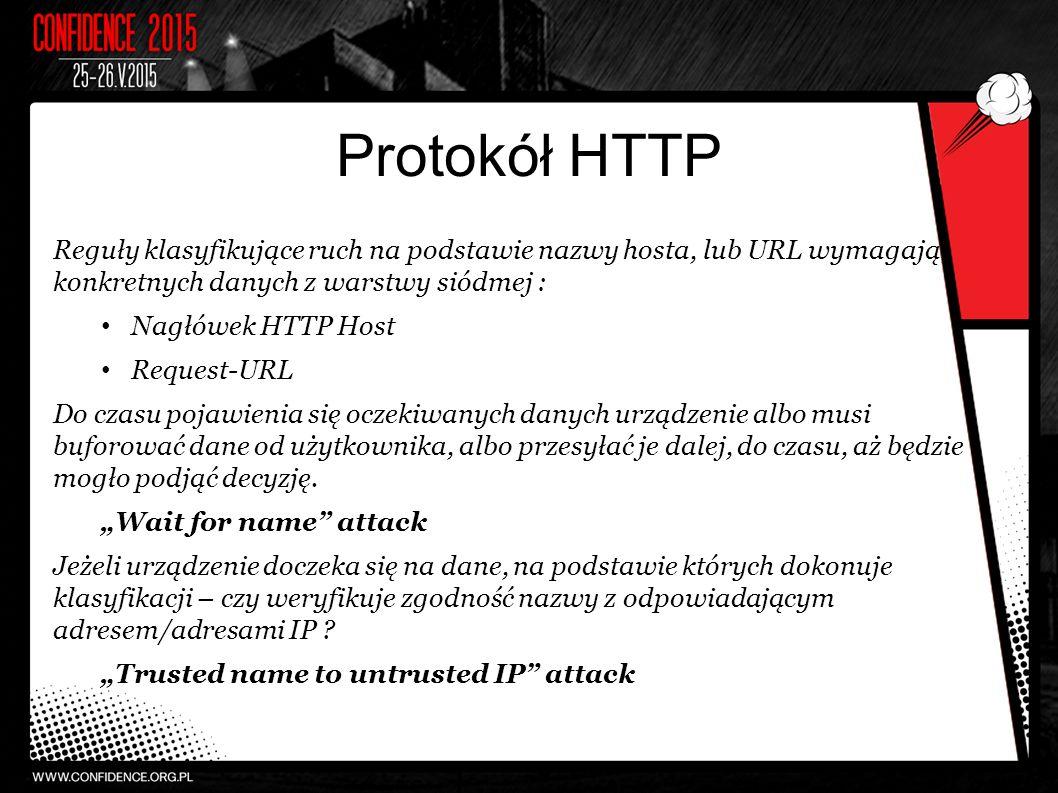 Protokół HTTP Reguły klasyfikujące ruch na podstawie nazwy hosta, lub URL wymagają konkretnych danych z warstwy siódmej : Nagłówek HTTP Host Request-URL Do czasu pojawienia się oczekiwanych danych urządzenie albo musi buforować dane od użytkownika, albo przesyłać je dalej, do czasu, aż będzie mogło podjąć decyzję.
