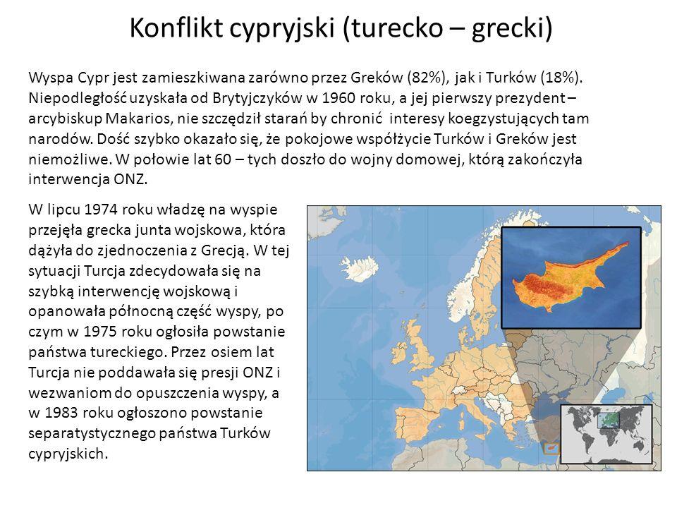 Konflikt cypryjski (turecko – grecki) Wyspa Cypr jest zamieszkiwana zarówno przez Greków (82%), jak i Turków (18%). Niepodległość uzyskała od Brytyjcz