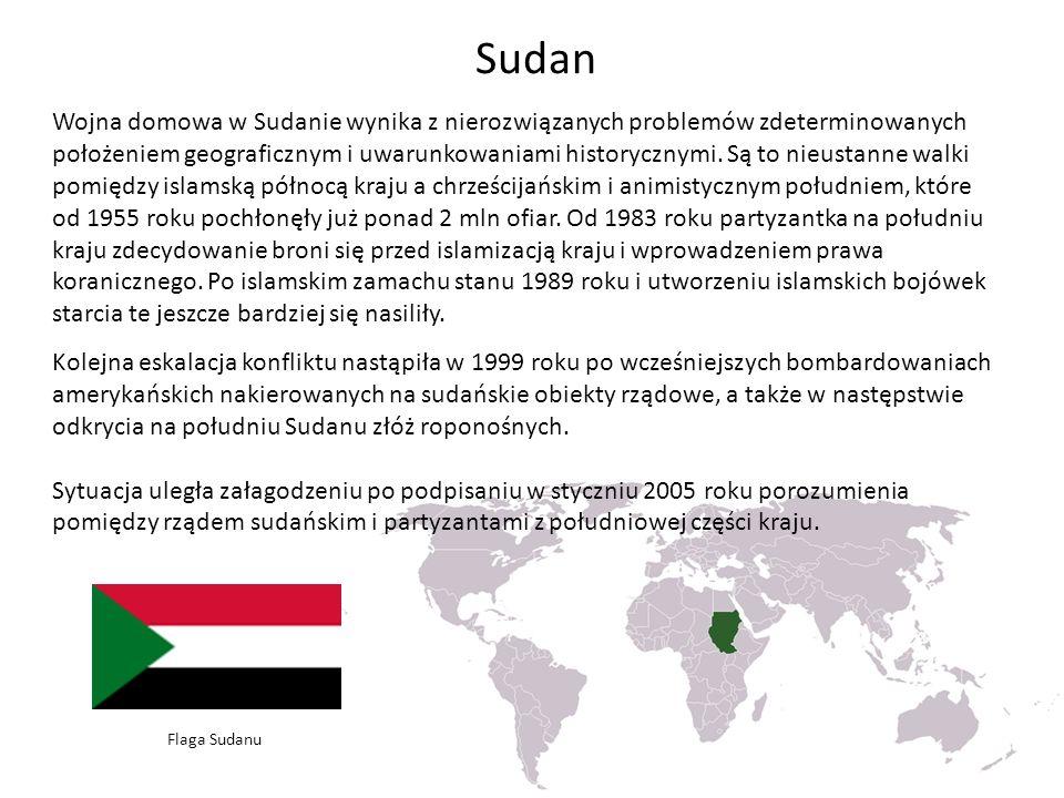 Sudan Wojna domowa w Sudanie wynika z nierozwiązanych problemów zdeterminowanych położeniem geograficznym i uwarunkowaniami historycznymi. Są to nieus