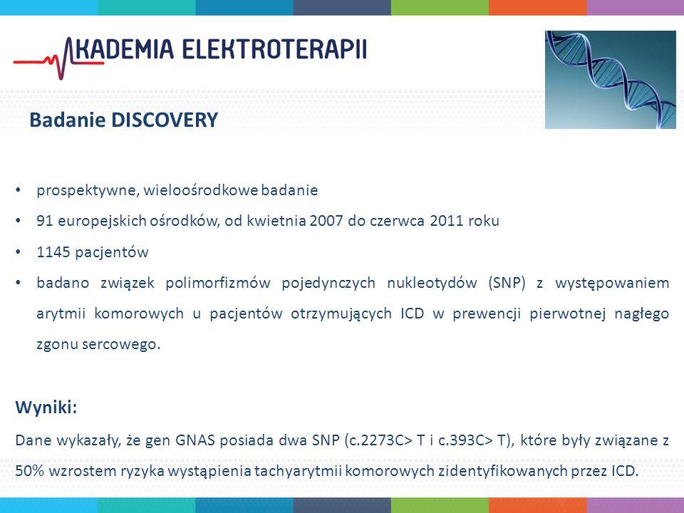 prospektywne, wieloośrodkowe badanie 91 europejskich ośrodków, od kwietnia 2007 do czerwca 2011 roku 1145 pacjentów badano związek polimorfizmów pojedynczych nukleotydów (SNP) z występowaniem arytmii komorowych u pacjentów otrzymujących ICD w prewencji pierwotnej nagłego zgonu sercowego.