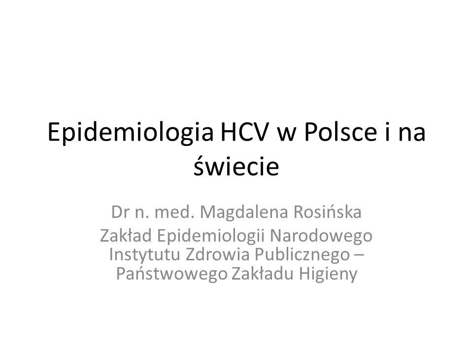 www.hcv.pzh.gov.pl Prawdopodobieństwo zakażenia wskutek indywidualnych zachowań ludzi: Bardzo wysokie u osób przyjmujących narkotyki dożylnie Niskie, ale obecne w kontaktach domowych Minimalne w pożyciu małżeńskim Podwyższone w przypadku wielu partnerów seksualnych Praktycznie zerowe w kontaktach towarzyskich i służbowych Indywidualne drogi zakażeń HCV