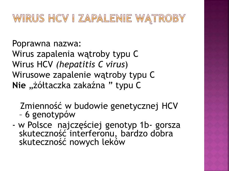 """Poprawna nazwa: Wirus zapalenia wątroby typu C Wirus HCV (hepatitis C virus) Wirusowe zapalenie wątroby typu C Nie """"żółtaczka zakaźna """" typu C Zmienno"""