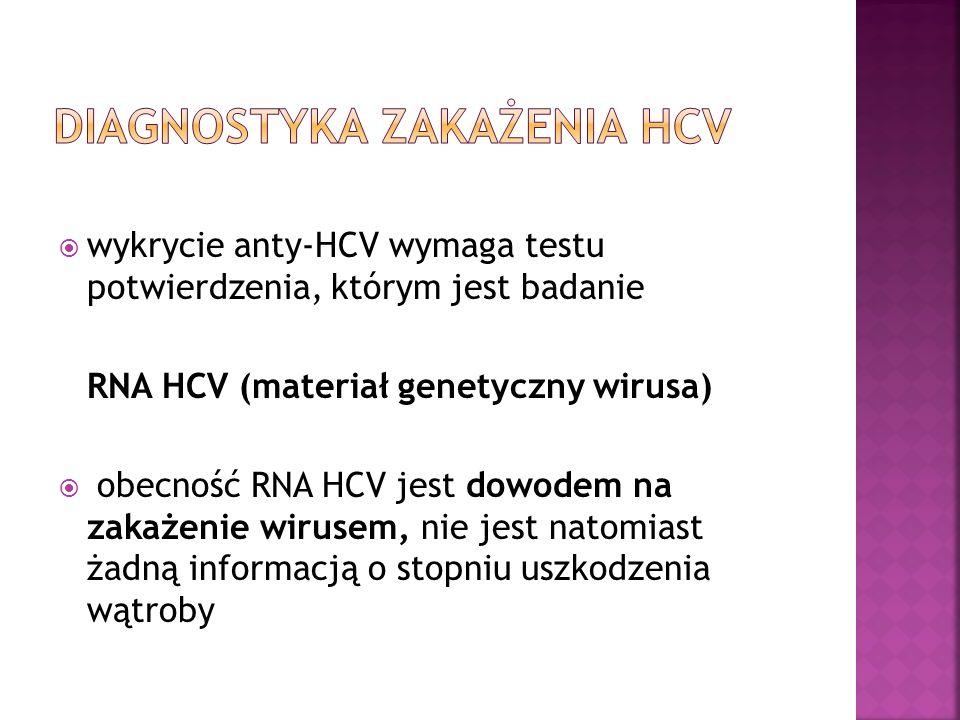  wykrycie anty-HCV wymaga testu potwierdzenia, którym jest badanie RNA HCV (materiał genetyczny wirusa)  obecność RNA HCV jest dowodem na zakażenie