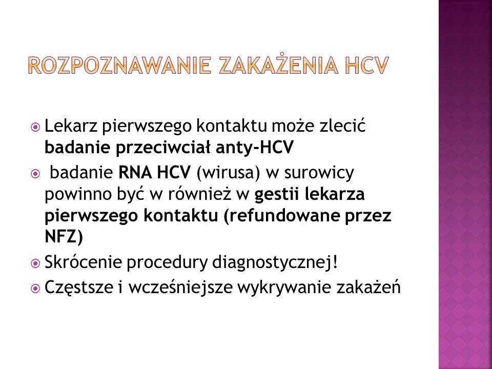  Lekarz pierwszego kontaktu może zlecić badanie przeciwciał anty-HCV  badanie RNA HCV (wirusa) w surowicy powinno być w również w gestii lekarza pie
