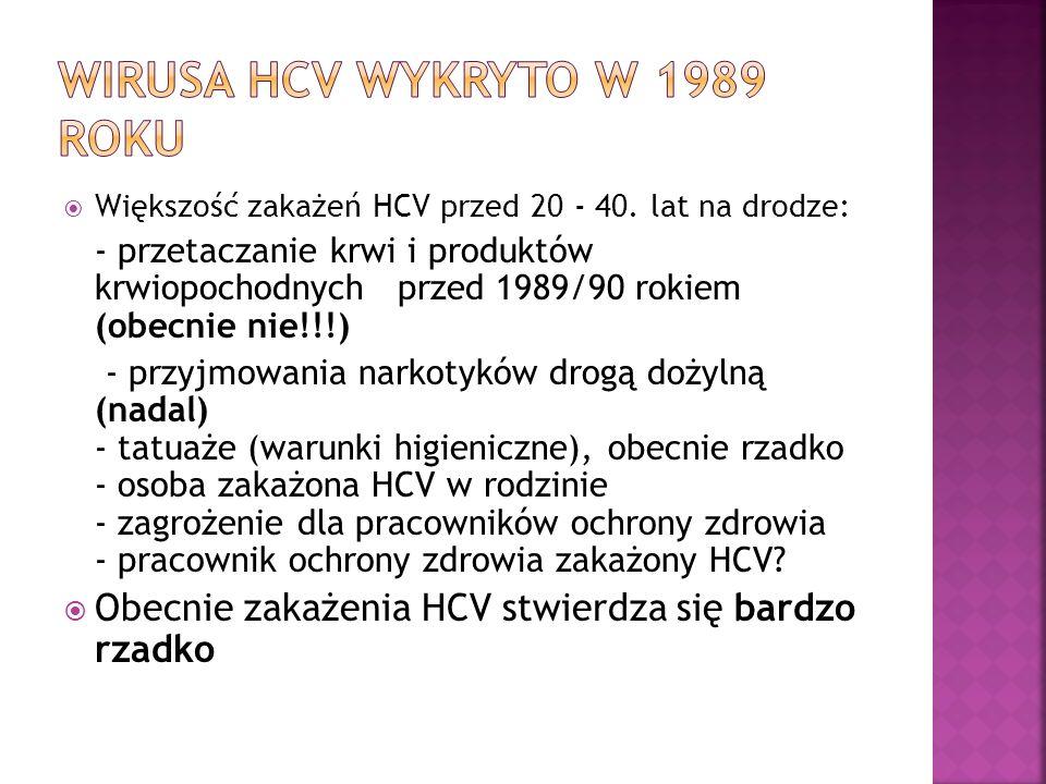  Większość zakażeń HCV przed 20 - 40. lat na drodze: - przetaczanie krwi i produktów krwiopochodnych przed 1989/90 rokiem (obecnie nie!!!) - przyjmow