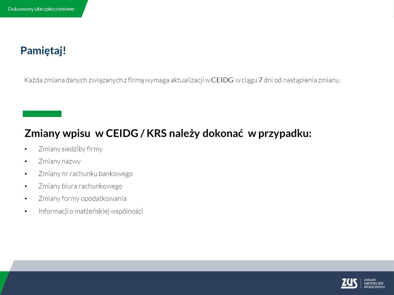 Zawieszenie i wznowienie wykonywania działalności gospodarczej c.d.