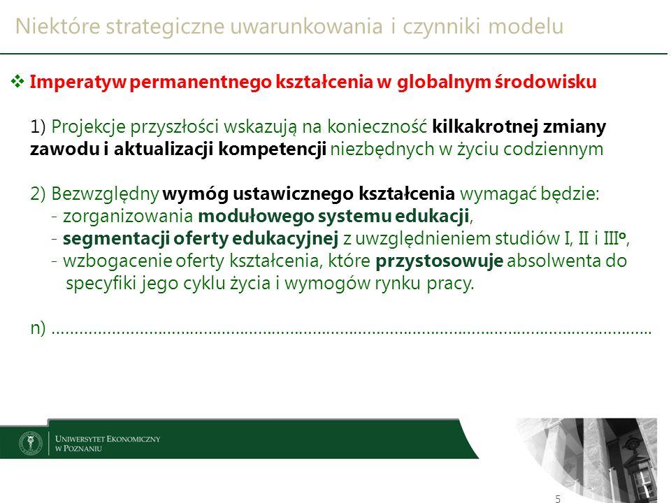 Niektóre strategiczne uwarunkowania i czynniki modelu 5  Imperatyw permanentnego kształcenia w globalnym środowisku 1) Projekcje przyszłości wskazują