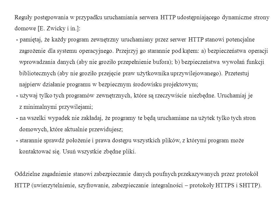 Reguły postępowania w przypadku uruchamiania serwera HTTP udostępniającego dynamiczne strony domowe [E.