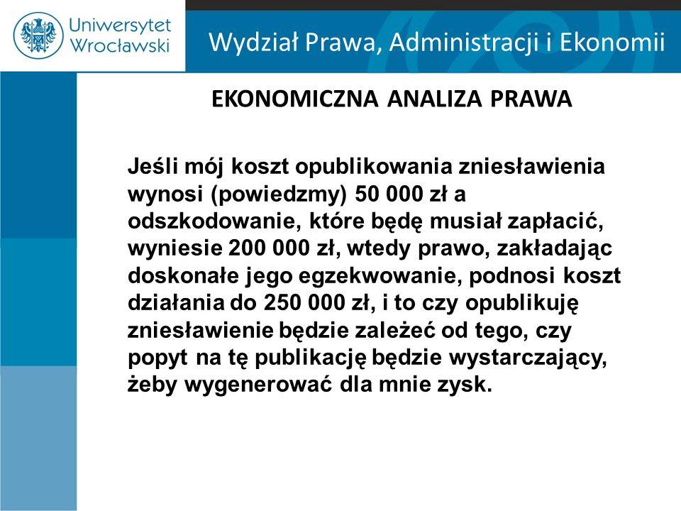 Wydział Prawa, Administracji i Ekonomii EKONOMICZNA ANALIZA PRAWA Na początku celem prawa deliktowego dla EAP była internalizacja kosztów szkody przez sprawcę deliktu.