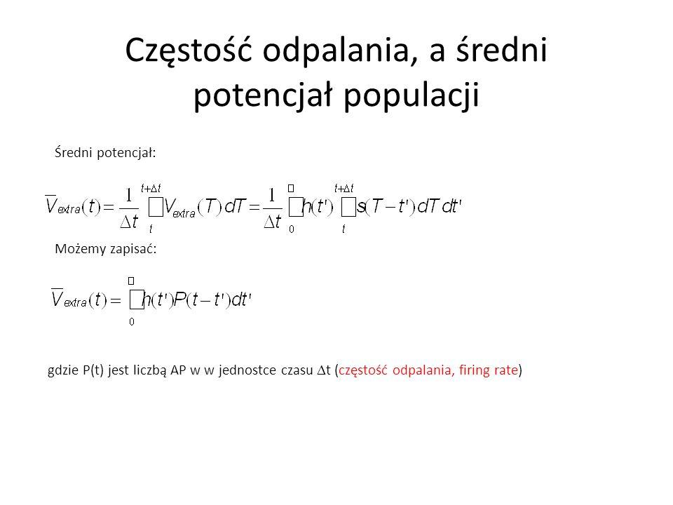 Częstość odpalania, a średni potencjał populacji Średni potencjał: gdzie P(t) jest liczbą AP w w jednostce czasu  t (częstość odpalania, firing rate)