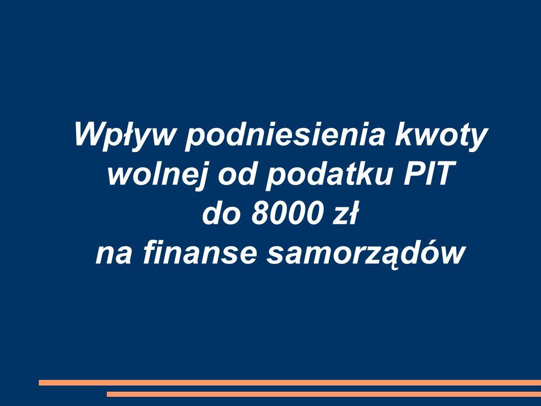 Wpływ podniesienia kwoty wolnej od podatku PIT do 8000 zł na finanse samorządów