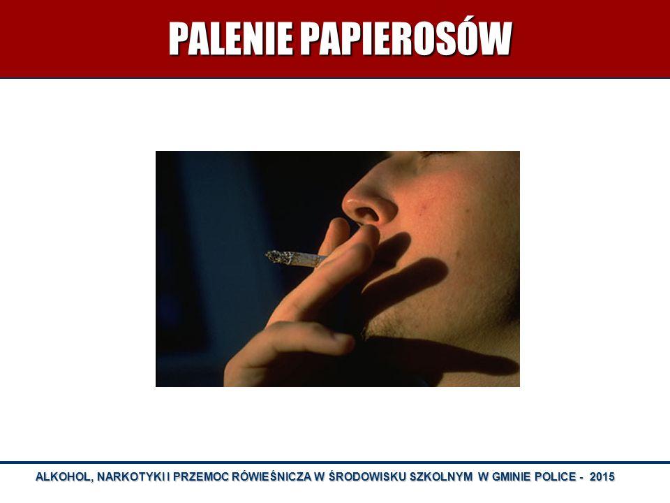 ALKOHOL, NARKOTYKI I PRZEMOC RÓWIEŚNICZA W ŚRODOWISKU SZKOLNYM W GMINIE POLICE - 2015 PALENIE PAPIEROSÓW PALENIE PAPIEROSÓW