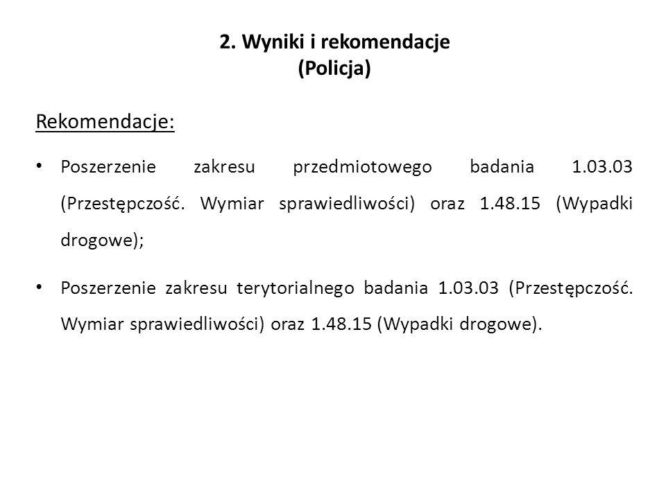 2. Wyniki i rekomendacje (Policja) Rekomendacje: Poszerzenie zakresu przedmiotowego badania 1.03.03 (Przestępczość. Wymiar sprawiedliwości) oraz 1.48.