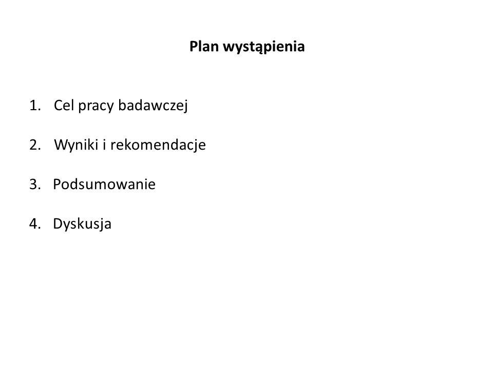 Plan wystąpienia 1.Cel pracy badawczej 2.Wyniki i rekomendacje 3. Podsumowanie 4. Dyskusja