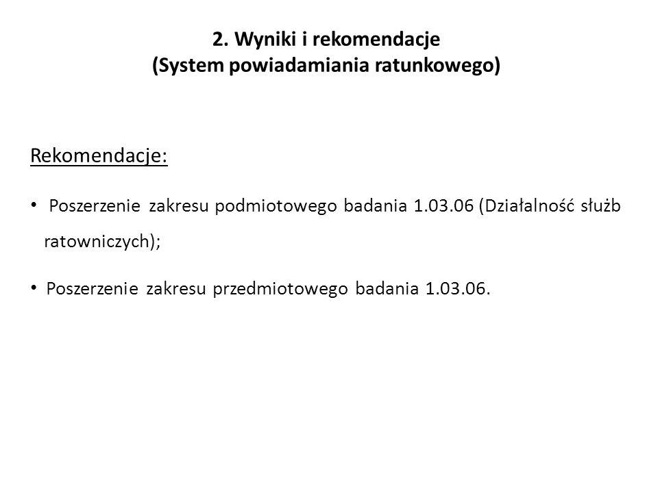 2. Wyniki i rekomendacje (System powiadamiania ratunkowego) Rekomendacje: Poszerzenie zakresu podmiotowego badania 1.03.06 (Działalność służb ratownic