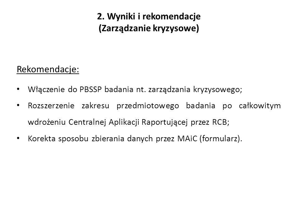 2. Wyniki i rekomendacje (Zarządzanie kryzysowe) Rekomendacje: Włączenie do PBSSP badania nt.