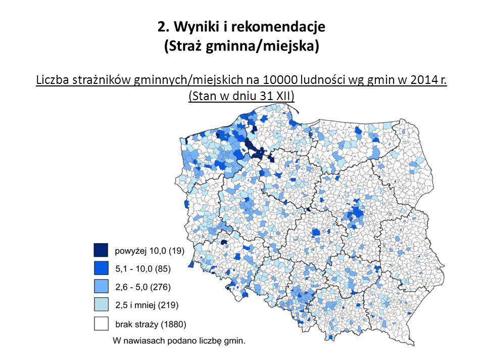 2. Wyniki i rekomendacje (Straż gminna/miejska) Liczba strażników gminnych/miejskich na 10000 ludności wg gmin w 2014 r. (Stan w dniu 31 XII)