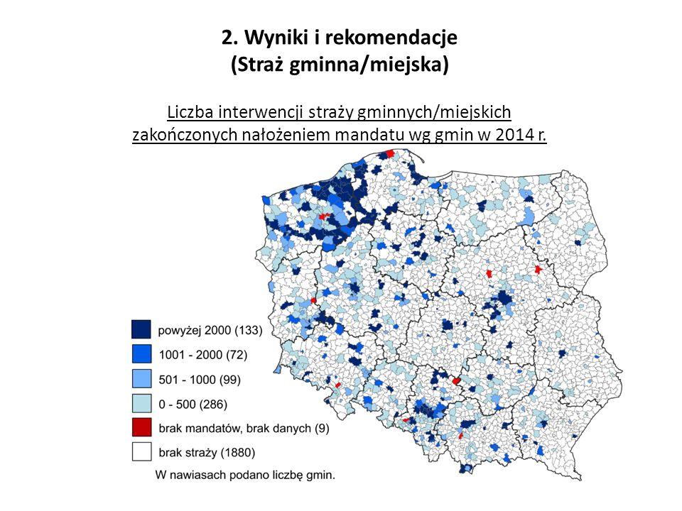 2. Wyniki i rekomendacje (Straż gminna/miejska) Liczba interwencji straży gminnych/miejskich zakończonych nałożeniem mandatu wg gmin w 2014 r.