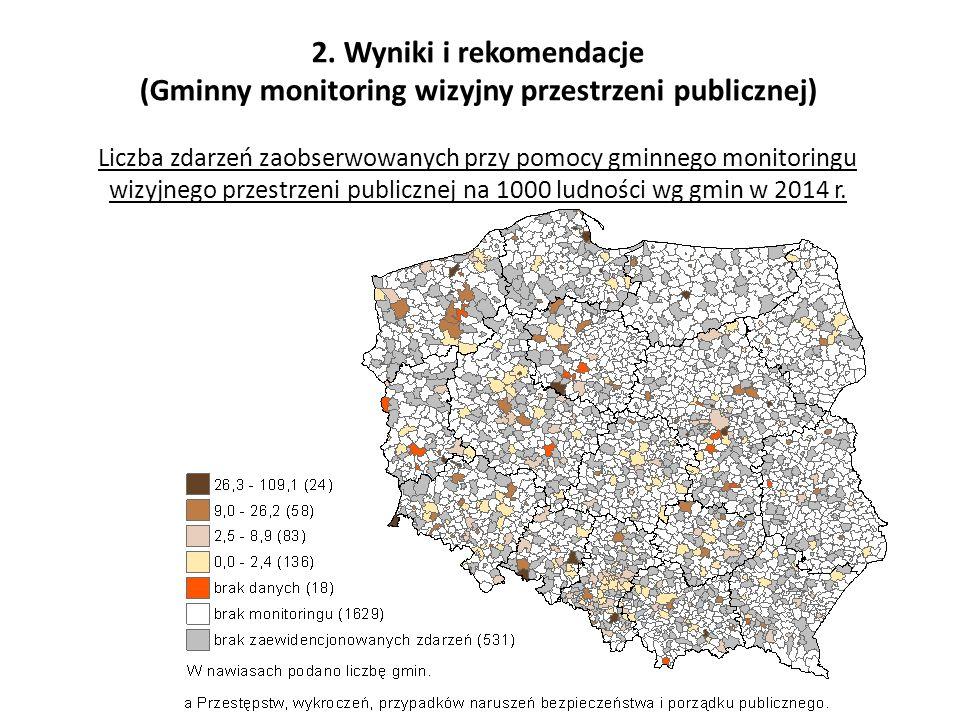 2. Wyniki i rekomendacje (Gminny monitoring wizyjny przestrzeni publicznej) Liczba zdarzeń zaobserwowanych przy pomocy gminnego monitoringu wizyjnego