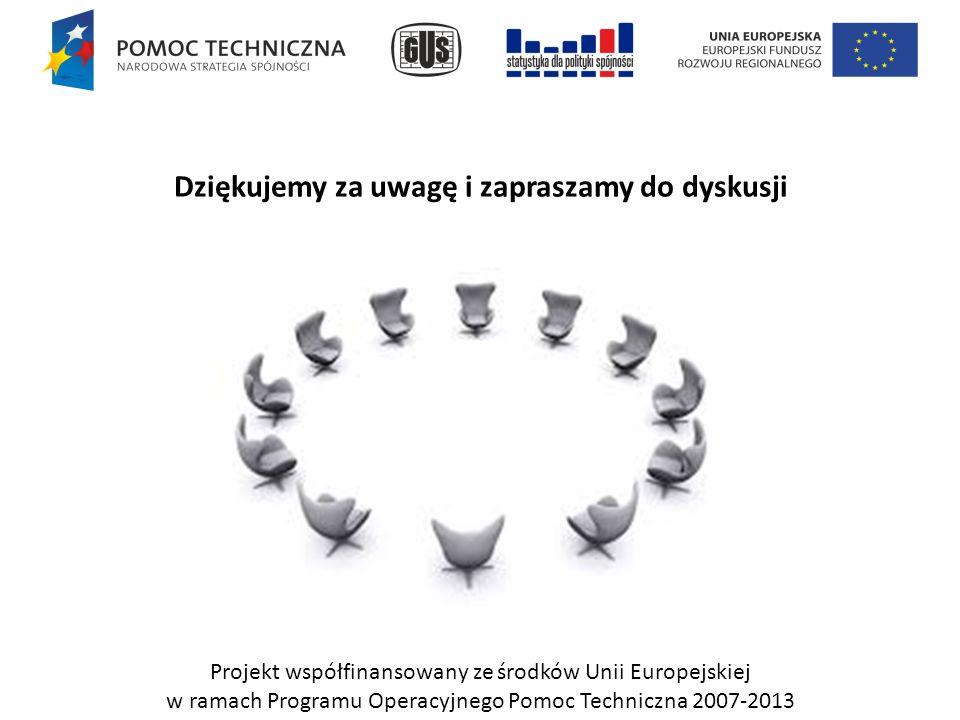 Dziękujemy za uwagę i zapraszamy do dyskusji Projekt współfinansowany ze środków Unii Europejskiej w ramach Programu Operacyjnego Pomoc Techniczna 2007-2013
