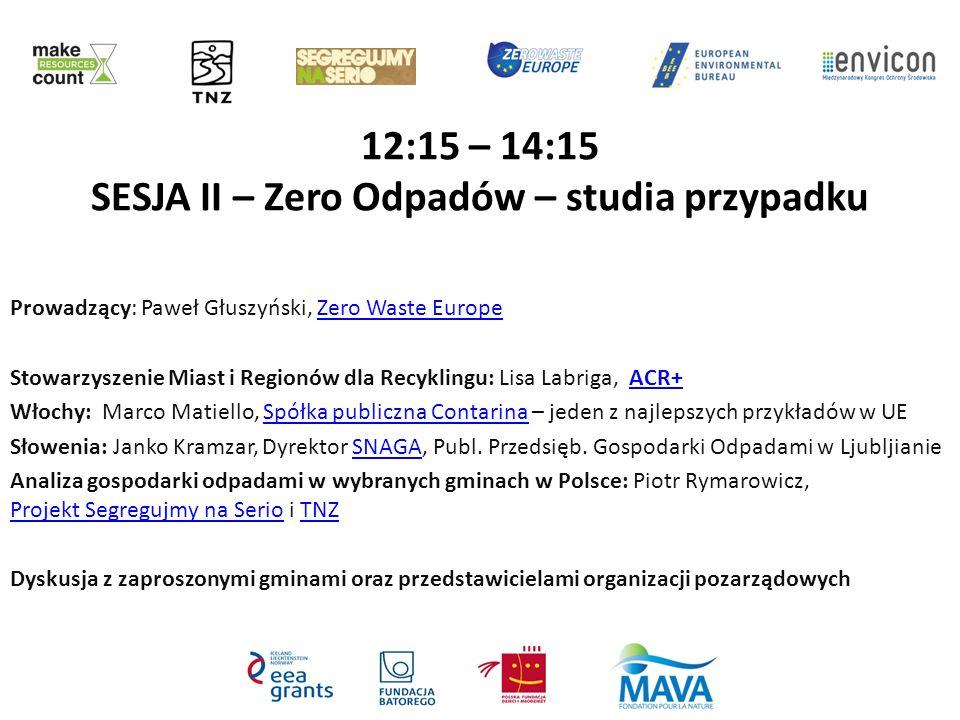 12:15 – 14:15 SESJA II – Zero Odpadów – studia przypadku Prowadzący: Paweł Głuszyński, Zero Waste EuropeZero Waste Europe Stowarzyszenie Miast i Regio