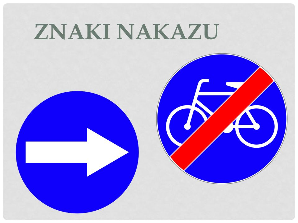 Znaki te zobowiązują kierującego do ruchu w określonym kierunku (zgodnym ze strzałkami), nakazują pewne zachowania na drodze, a także zobowiązują pewnych uczestników ruchu drogowego do poruszania się po ściśle określonych drogach.