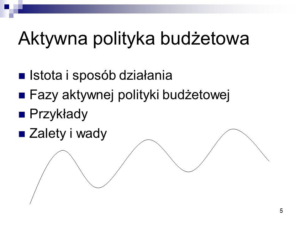 5 Aktywna polityka budżetowa Istota i sposób działania Fazy aktywnej polityki budżetowej Przykłady Zalety i wady
